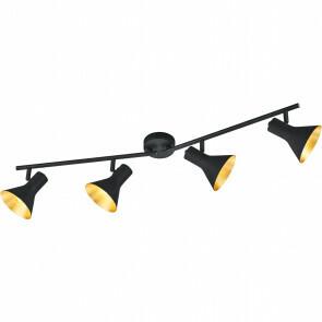 LED Plafondlamp - Plafondverlichting - Trion Nana - E14 Fitting - 4-lichts - Verstelbaar - Rond - Mat Zwart - Aluminium