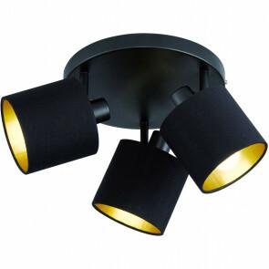 LED Plafondlamp - Plafondverlichting - Trion Torry - E14 Fitting - 3-lichts - Rond - Mat Zwart - Aluminium/Textiel