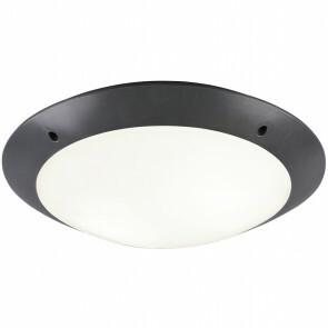LED Plafondlamp - Trion Camiro - Opbouw Rond - Waterdicht IP54 - E27 Fitting - 2-lichts - Mat Zwart - Kunststof
