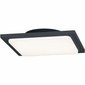 LED Plafondlamp - Trion Tovery - Opbouw Vierkant 18W - Waterdicht IP54 - Warm Wit 3000K - Mat Zwart - Aluminium