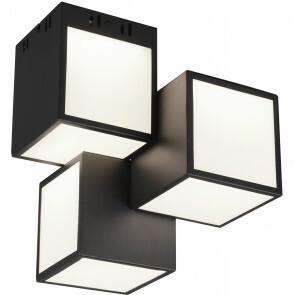 LED Plafondlamp WiZ - Plafondverlichting - Trion Oski - 24W - Aanpasbare Kleur - 3-lichts - RGBW - Vierkant - Mat Zwart - Aluminium