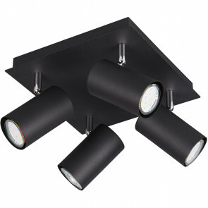 LED Plafondspot - Trion Mary - GU10 Fitting - 4-lichts - Vierkant - Mat Zwart - Aluminium