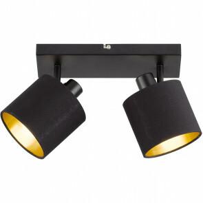 LED Plafondspot - Trion Torry - E14 Fitting - 2-lichts - Rond - Mat Zwart - Aluminium/Textiel