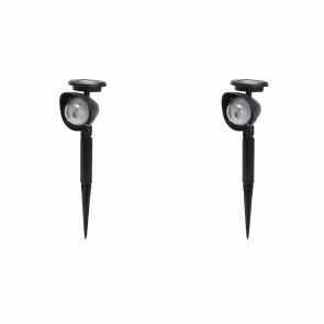 LED Priklamp met Zonne-energie - Set 2 Stuks - Dag en Nacht Sensor - Aigi Lomins - RGB - Mat Zwart - Kunststof