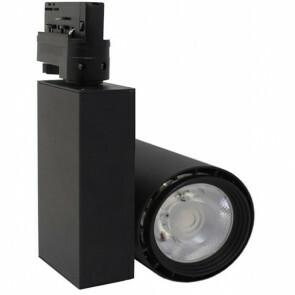 LED Railverlichting - Track Spot - Facto - 40W 3 Fase - Rond - Warm Wit 3000K - Mat Zwart Aluminium