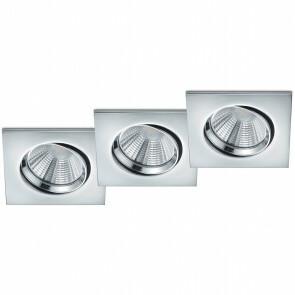 LED Spot 3 Pack - Inbouwspot - Trion Paniro - Vierkant 5W - Dimbaar - Warm Wit 3000K - Mat Zwart - Aluminium - 80mm