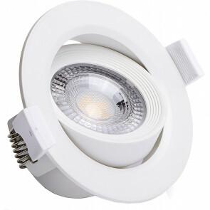 LED Spot - Inbouwspot - Aigi Nilona - 7W - Natuurlijk Wit 4000K - Rond - Kantelbaar - Mat Wit - Aluminium