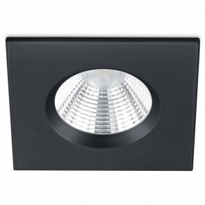 LED Spot - Inbouwspot - Trion Zagrona - 5W - Waterdicht IP65 - Dimbaar - Warm Wit 3000K - Mat Zwart - Aluminium - Vierkant