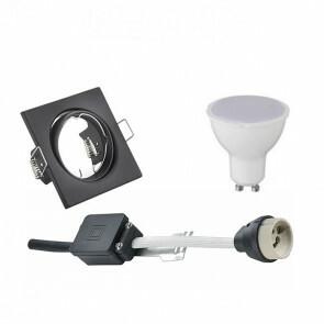 LED Spot Set - GU10 Fitting - Inbouw Vierkant - Mat Zwart - 6W - Warm Wit 3000K - Kantelbaar 80mm