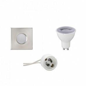 LED Spot Set - GU10 Fitting - Waterdicht IP65 - Dimbaar - Inbouw Vierkant - Mat Chroom - 6W - Warm Wit 3000K - 82mm