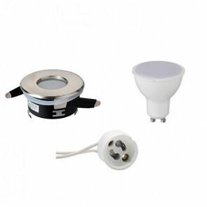 LED Spot Set - GU10 Fitting - Waterdicht IP65 - Inbouw Rond - Mat Chroom - 8W - Natuurlijk Wit 4200K - Ø82mm