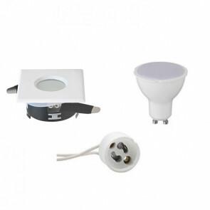 LED Spot Set - GU10 Fitting - Waterdicht IP65 - Inbouw Vierkant - Mat Wit - 6W - Natuurlijk Wit 4200K - 82mm