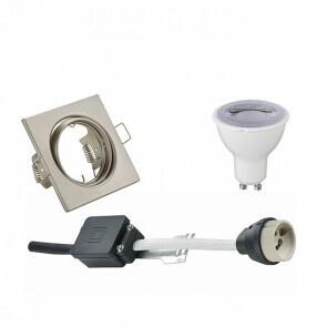 LED Spot Set - Trion - GU10 Fitting - Dimbaar - Inbouw Vierkant - Mat Nikkel - 6W - Natuurlijk Wit 4200K - Kantelbaar 80mm