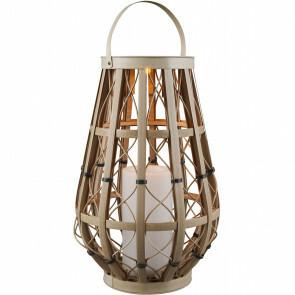 LED Tafellamp met Zonne-energie - Trion Venny XL - Dag en Nacht Sensor - Spatwaterdicht IP44 - Ovaal - Mat Crème - Kunststof