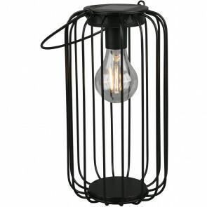 LED Tafellamp met Zonne-energie - Trion Wosle - Dag en Nacht Sensor - Spatwaterdicht IP44 - Rond - Mat Zwart - Aluminium