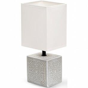 LED Tafellamp - Tafelverlichting - Aigi Astron - E14 Fitting - Vierkant - Mat Wit - Keramiek