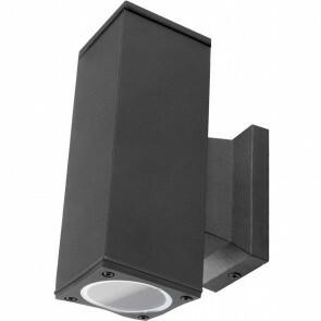 LED Tuinverlichting - Buitenlamp - Aigi Wally Up and Down - GU10 Fitting - 2-lichts - Mat Zwart - Vierkant - Aluminium