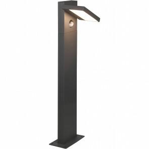 LED Tuinverlichting met Bewegingssensor - Staande Buitenlamp - Trion Ihson - 8W - Warm Wit 3000K - Draaibaar - Rechthoek - Mat Antraciet - Aluminium