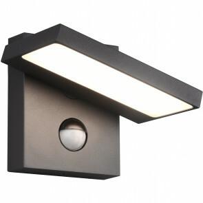 LED Tuinverlichting met Bewegingssensor - Wandlamp Buitenlamp - Trion Ihson - 8W - Warm Wit 3000K - Draaibaar - Vierkant - Mat Antraciet - Aluminium