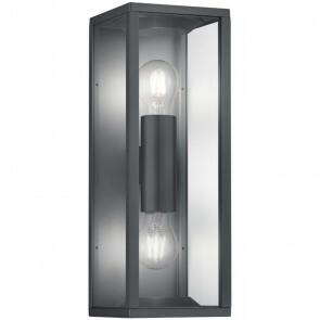 LED Tuinverlichting - Tuinlamp - Trion Garinola - Wand - E27 Fitting - 2-lichts - Mat Zwart - Aluminium