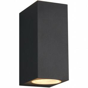 LED Tuinverlichting - Tuinlamp - Trion Royina - Wand - GU10 Fitting - Mat Zwart - Aluminium - Rechthoek