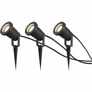LED Tuinverlichting - Vloerlamp 3 Pack - Trion Ubani - Staand - GU10 Fitting - Mat Zwart - Aluminium