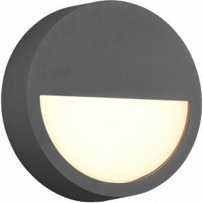 LED Tuinverlichting - Wandlamp Buitenlamp - Trion Pido - 9W - Warm Wit 3000K - Rond - Mat Antraciet - Aluminium