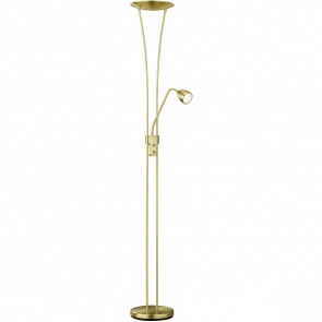 LED Vloerlamp - Trion Azorina - 20W + 5W - Warm Wit 3000K - 2-lichts - Dimbaar - Rond - Mat Goud - Aluminium