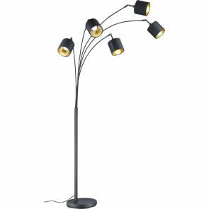 LED Vloerlamp - Trion - E14 Fitting - 5-lichts - Rond - Mat Zwart - Aluminium