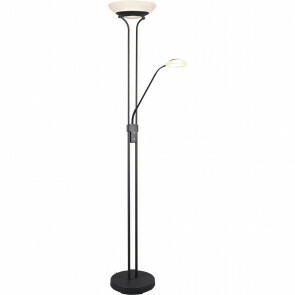 LED Vloerlamp - Trion Orsan - 31W - Warm Wit 3000K - Dimbaar - Rond - Mat Zwart - Aluminium