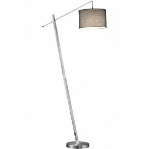 LED Vloerlamp - Trion Pedma - E27 Fitting - Rechthoek - Mat Nikkel - Aluminium