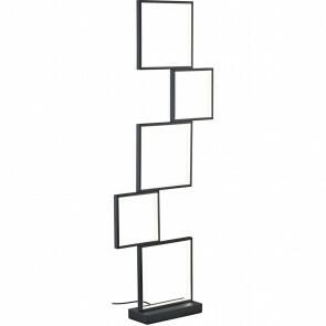 LED Vloerlamp - Trion Soranto - 34W - Warm Wit 3000K - Dimbaar - Rechthoek - Mat Zwart - Aluminium