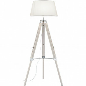 LED Vloerlamp - Trion Tripady - E27 Fitting - Rond - Mat Wit - Hout