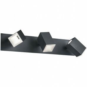 LED Wandspot - Trion Laginos - 18W - Warm Wit 3000K - 3-lichts - Rechthoek - Mat Zwart - Aluminium