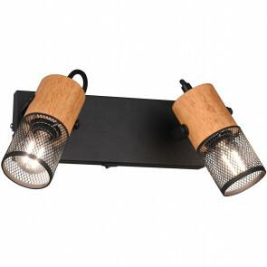 LED Wandspot - Trion Yosh - E14 Fitting - 2-lichts - Rechthoek - Mat Zwart - Aluminium
