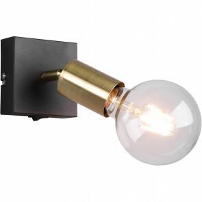 LED Wandspot - Trion Zuncka - E27 Fitting - Vierkant - Mat Zwart/Goud – Aluminium