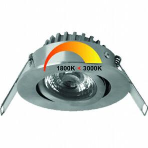 MEGAMAN - LED Spot - Inbouwspot - Rico - Rond 6W - Aanpasbare Kleur - Dim to Warm Dimbaar - Mat Nikkel - RVS - Kantelbaar Ø80mm