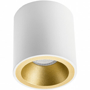 Opbouwspot GU10 - Pragmi Cliron Pro - Opbouw Rond - Mat Wit/Goud - Aluminium - Verdiept - Ø90mm