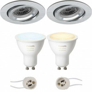 PHILIPS HUE - LED Spot Set GU10 - White Ambiance - Bluetooth - Pragmi Aerony Pro - Inbouw Rond - Mat Zilver - Kantelbaar - Ø82mm