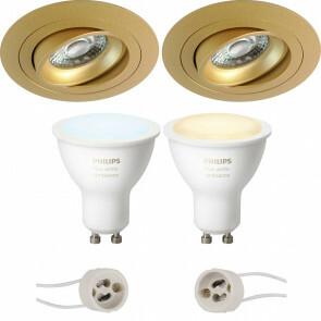 PHILIPS HUE - LED Spot Set GU10 - White Ambiance - Bluetooth - Pragmi Alpin Pro - Inbouw Rond - Mat Goud - Kantelbaar - Ø92mm
