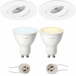 PHILIPS HUE - LED Spot Set GU10 - White Ambiance - Bluetooth - Pragmi Alpin Pro - Inbouw Rond - Mat Wit - Kantelbaar Ø92mm