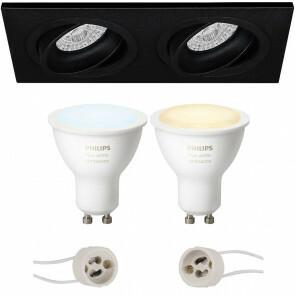 PHILIPS HUE - LED Spot Set GU10 - White Ambiance - Bluetooth - Pragmi Borny Pro - Inbouw Rechthoek Dubbel - Mat Zwart - Kantelbaar - 175x92mm