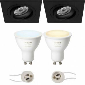 PHILIPS HUE - LED Spot Set GU10 - White Ambiance - Bluetooth - Pragmi Borny Pro - Inbouw Vierkant - Mat Zwart - Kantelbaar - 92mm