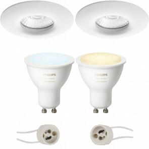 PHILIPS HUE - LED Spot Set GU10 - White Ambiance - Bluetooth - Pragmi Luno Pro - Waterdicht IP65 - Inbouw Rond - Mat Wit - Ø82mm