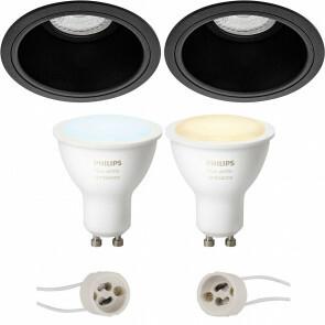 PHILIPS HUE - LED Spot Set GU10 - White Ambiance - Bluetooth - Pragmi Minko Pro - Inbouw Rond - Mat Zwart - Verdiept - Ø90mm