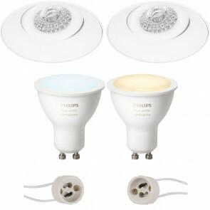 PHILIPS HUE - LED Spot Set GU10 - White Ambiance - Bluetooth - Pragmi Nivas Pro - Inbouw Rond - Mat Wit - Trimless - Kantelbaar - Ø150mm