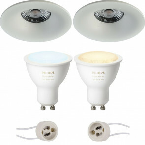 PHILIPS HUE - LED Spot Set GU10 - White Ambiance - Bluetooth - Pragmi Nora Pro - Inbouw Rond - Mat Wit - Ø82mm