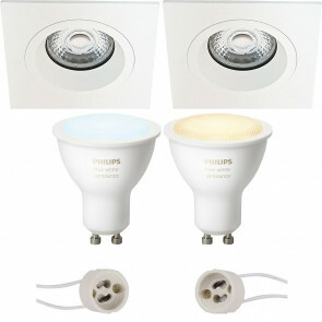 PHILIPS HUE - LED Spot Set GU10 - White Ambiance - Bluetooth - Pragmi Rodos Pro - Inbouw Vierkant - Mat Wit - 93mm