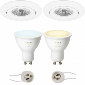 PHILIPS HUE - LED Spot Set GU10 - White Ambiance - Bluetooth - Pragmi Uranio Pro - Inbouw Rond - Mat Wit - Kantelbaar - Ø82mm