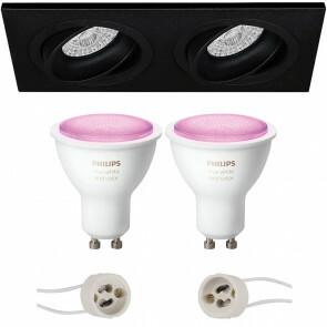 PHILIPS HUE - LED Spot Set GU10 - White and Color Ambiance - Bluetooth - Pragmi Borny Pro - Inbouw Rechthoek Dubbel - Mat Zwart - Kantelbaar - 175x92mm